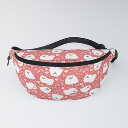 White Pomeranians Pattern - Cute Dog with Love and Hearts Fanny Pack
