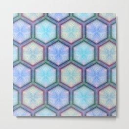 Lavender and Blue Honeycomb Inlay Wood Art Look Metal Print