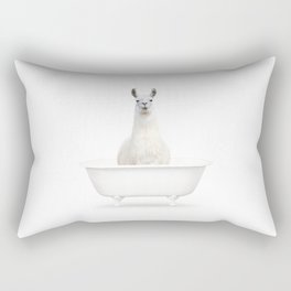 llama in a Vintage Bathtub (c) Rectangular Pillow