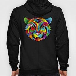 Colorful Tiger Face Multicolor Design Hoody