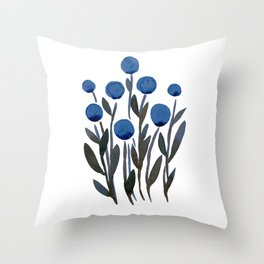 Simple watercolor flowers - midnight blue Throw Pillow