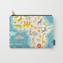 Animals world map, Africa. Beautiful cheerful colorful vector illustration for children and kids. Wi Carry-All Pouch