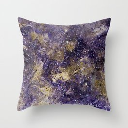 Writings in the Sky the Night Galaxy watercolor by CheyAnne Sexton Throw Pillow