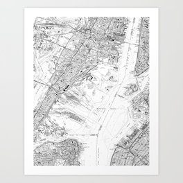 Vintage Map of Jersey City NJ (1967) BW Art Print