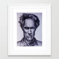 clint eastwood Framed Art Prints featuring Clint Eastwood by Bronsolo Illustration