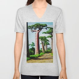 The Disappearing Giant Baobab Trees of Madagascar Landscape Painting Unisex V-Neck