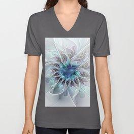 Flourish Abstract, Fantasy Flower Fractal Art Unisex V-Neck