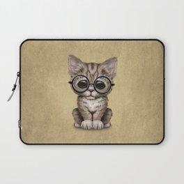 Cute Brown Tabby Kitten Wearing Eye Glasses Laptop Sleeve