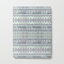 Blue Pattern Triangle Art Metal Print