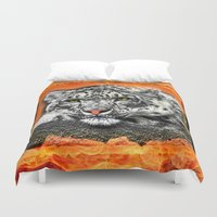 snow leopard Duvet Covers featuring Snow Leopard by SwanniePhotoArt