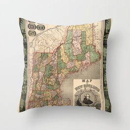 Map of New England 1847 Throw Pillow