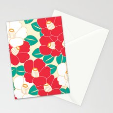 Japanese Style Camellia - Red and White Stationery Cards