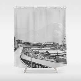Seattle in White Shower Curtain