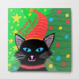 Christmas Cat -Long, Black Hair-Blue Eyes Metal Print