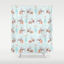 Christmas Cat in Embroidery Sweater Seamless Vector Pattern Shower Curtain