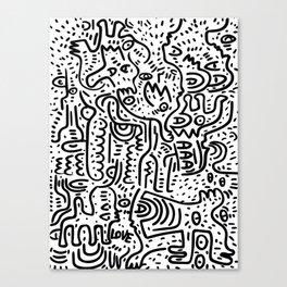 Street Art Graffiti Love Black and White Canvas Print