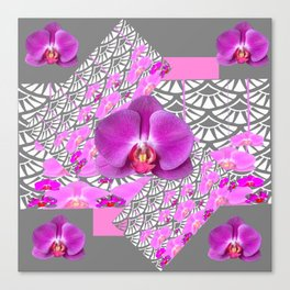GREY & CERISE PINK ORCHID FLOWERS  WHITE PATTERN Canvas Print