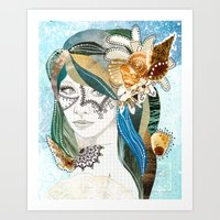aqua Art Prints featuring Aqua by Jenndalyn