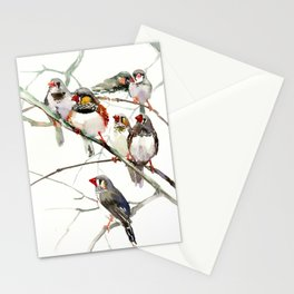 Birds, Cute birds Zebra Finch Art, Pet bird, Nursery, Children room Stationery Cards