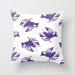 Le Lobster Bleu Throw Pillow