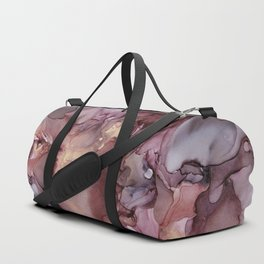 Ink Swirls Painting Lavender Plum Gold Flow Duffle Bag