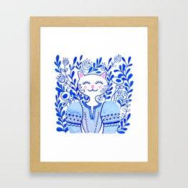 Folk Cat Framed Art Print