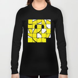 Acid Smiley Shuffle Puzzle Long Sleeve T-shirt