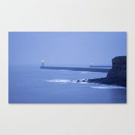North and South Pier Lighthouses at dawn from Sharpness Point. Tynemouth, Northumberland, UK Canvas Print