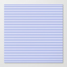 Small Horizontal Cobalt Blue and White French Mattress Ticking Stripes Canvas Print