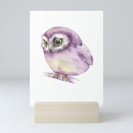 Pink Owl drawn with Watercolours Aquarell Colors  Mini Art Print