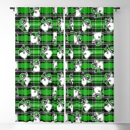 Cute punk raccoon on plaid background vector pattern.  Blackout Curtain