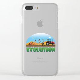 Engineering Vehicle Mechanic Machinery Farming Agriculture Tractor Evolution Of Farmer Gift Clear iPhone Case