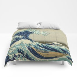 The Classic Japanese Great Wave off Kanagawa Print by Hokusai Comforters