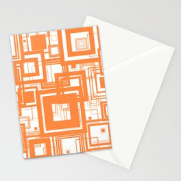 Mid Century Modern Muted Orange 1970s Style Retro Geometric Squares Stationery Cards