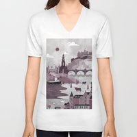 travel poster V-neck T-shirts featuring Edinburgh Travel Poster Illustration by ClaireIllustrations