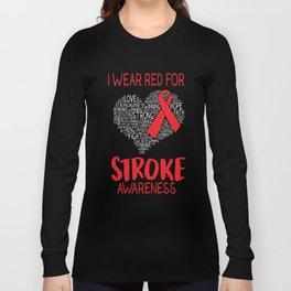 I Wear Red For Stroke Awareness Illustration Long Sleeve T-shirt