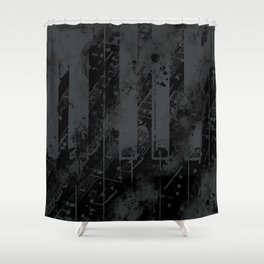piano keys and music sheet pattern wsbgr Shower Curtain