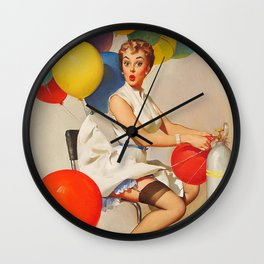 Vintage Pin Up Girl and Colorful Balloons Wall Clock