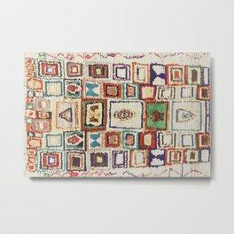 Colorful Vintage Moroccan Cotton Rug Print Metal Print