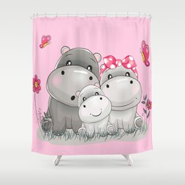 adorable hippos Shower Curtain