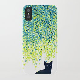 Cat in the garden under willow tree iPhone Case