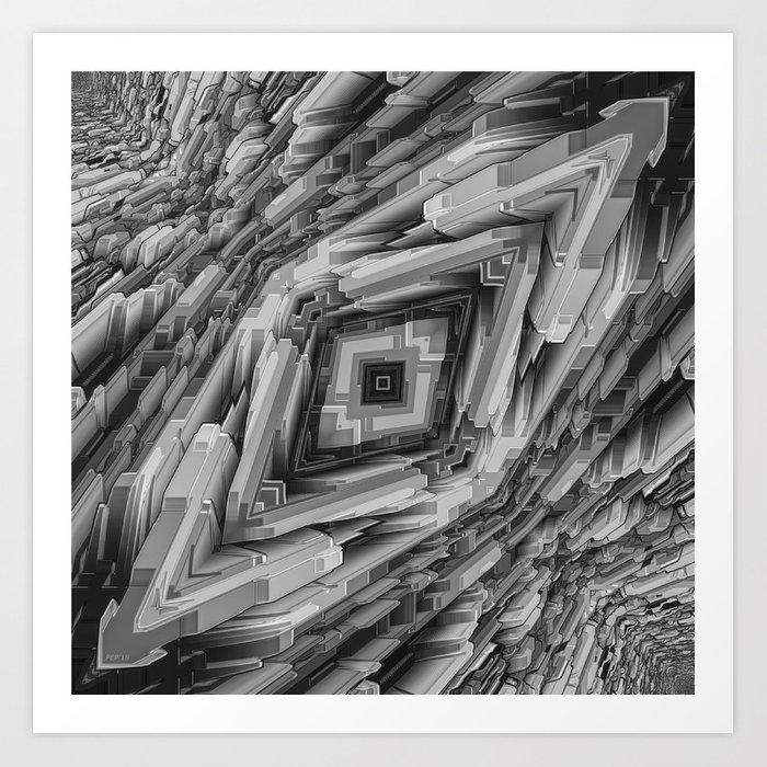 Futuristic Metallic Structure Art Print