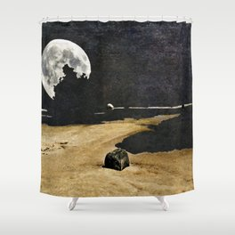 Fractured Moon Bay Shower Curtain