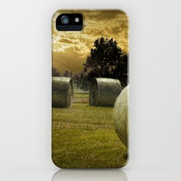 Farm Field with Hay Bales at Sunrise in West Michigan iPhone Case