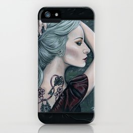 Silence Woman Portrait with Tattoos iPhone Case