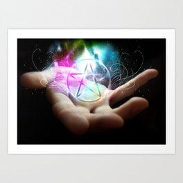 Magickal flaming pentacle Art Print