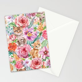 Kittens in flowers Stationery Cards