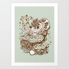 Zentangle green flower roots doodle Art Print