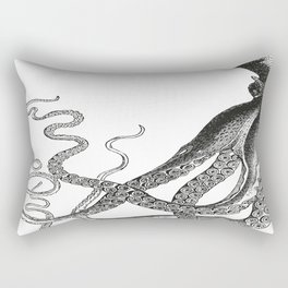 Half Octopus (Left Side)   Vintage Octopus   Diptych   Black and White   Rectangular Pillow