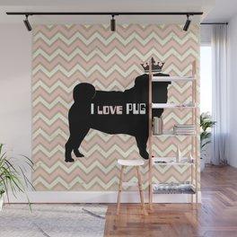 I love Pug-Pink Dog illustration original painting print Wall Mural